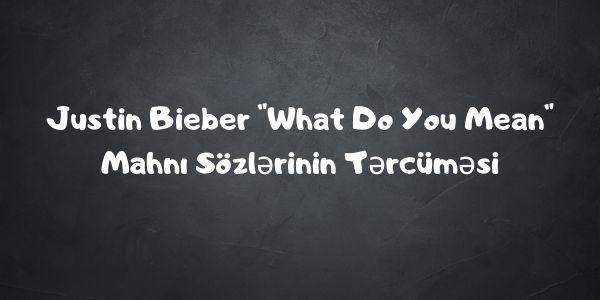 Justin Bieber _What Do You Mean_ Mahnı Sözlərinin Tərcüməsi