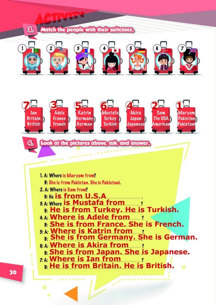 4-cü Sinif İngilis Dili Dərs Kitabı 30-ci Səyfə Cavabı
